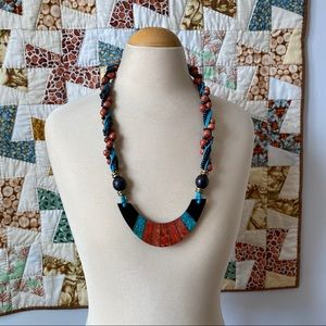 Vintage beaded necklace in turquoise red and black